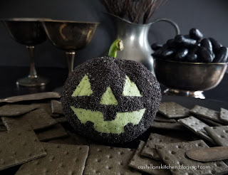Spinach Pesto Cheeseball for Halloween
