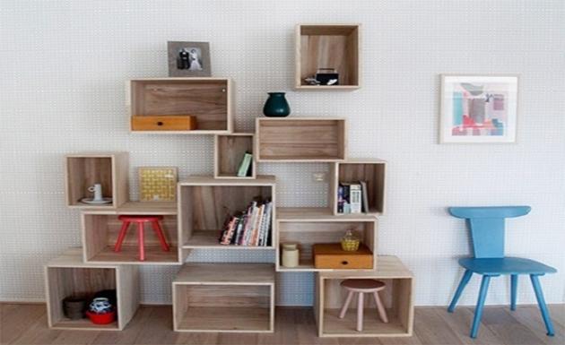 cajas de vino recicladas para hogar como estantería habitación