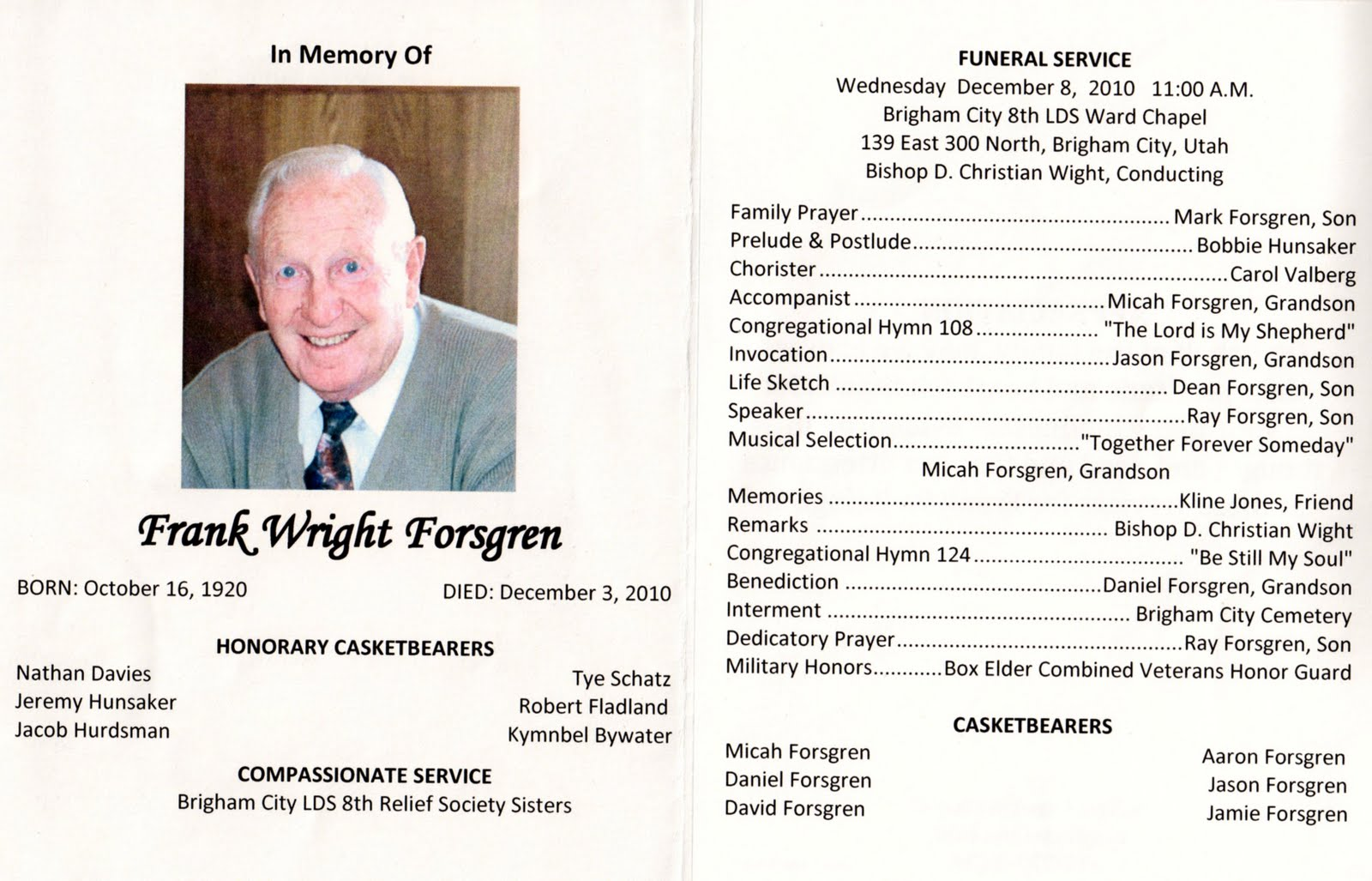 memorial service program template best business template sample – Sample of Funeral Programs