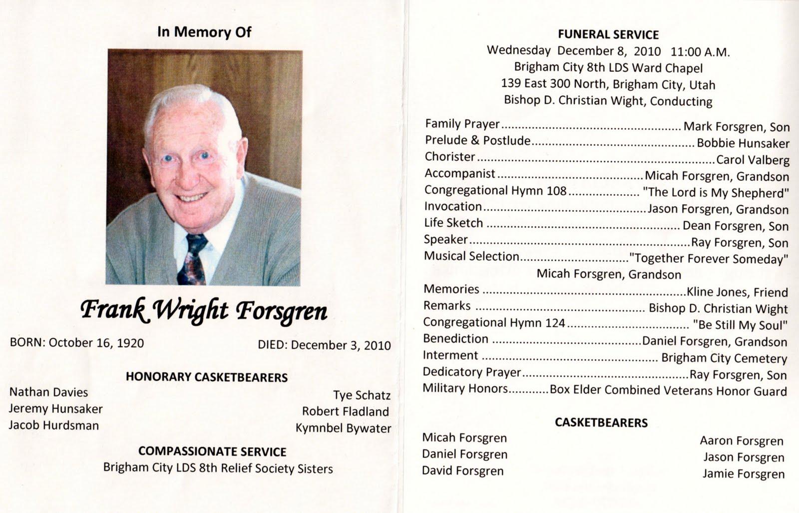 Funeral Mass Program Template examples best photos of of – Free Memorial Program Template