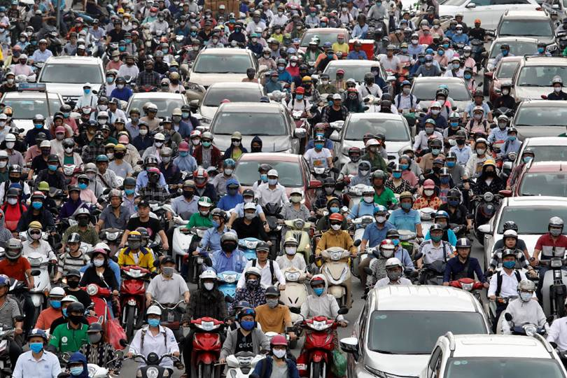 Rush hour in Hanoi, Vietnam. (Photo by Kham)