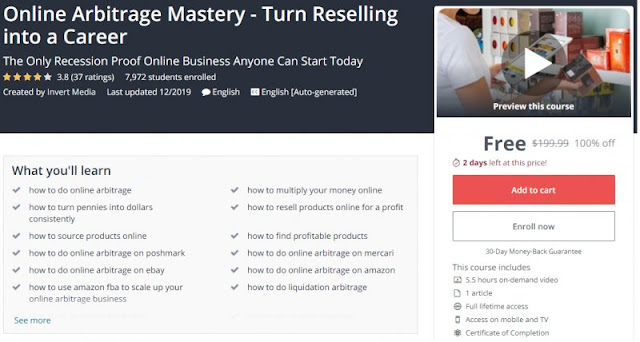 [100% Off] Online Arbitrage Mastery - Turn Reselling into a Career| Worth 199,99$