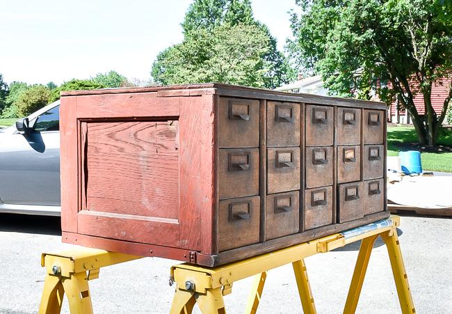 wood 15 drawer card catalog