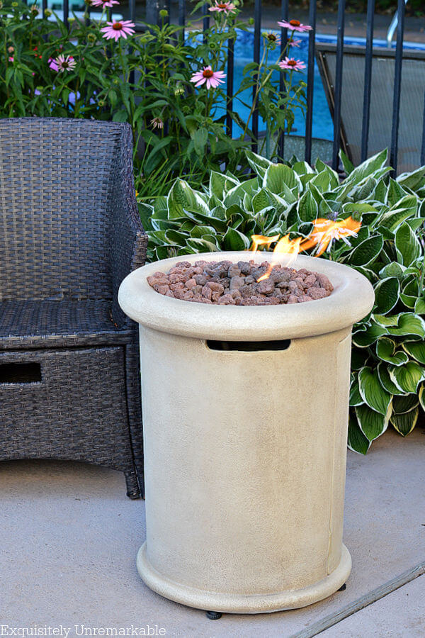 Small Space Gas Fire Pit in garden