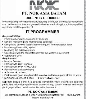 Lowongan Kerja PT. NOK Asia Batam