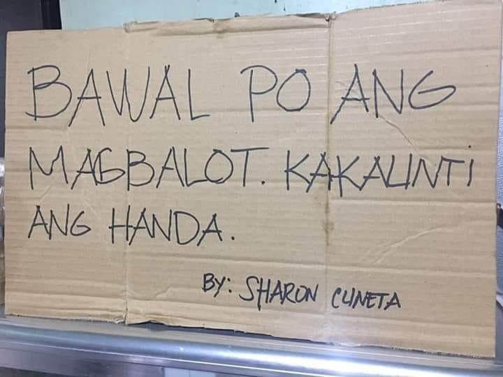 VIRAL: 'Bawal magbalot' sign at birthday party draws laughs