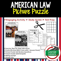 American Law, Civics Test Prep, Civics Test Review, Civics Study Guide, Civics Interactive Notebook Inserts, Civics Picture Puzzles