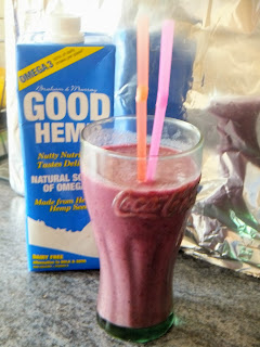 hemp milk, milk shake, banana, blackberries