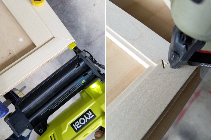 how to put together mitered corners with Ryobi brad nailer and staples