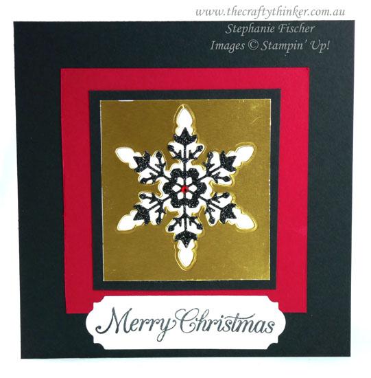 #thecraftythinker #cardmaking #stampinup #christmascard #xmascard #snowflakewishes , Christmas card, Snowflake Wishes, Stampin' Up Demonstrator, Stephanie Fischer, Sydney NSW