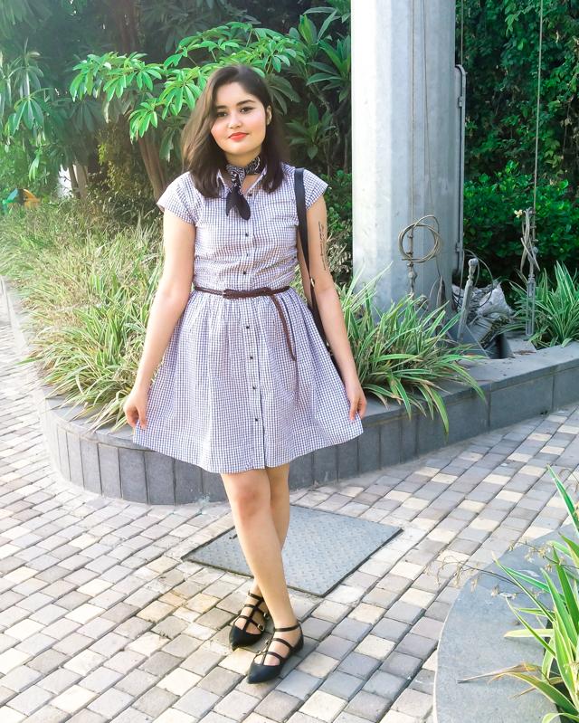 Sixties Checks Shirt Dress with neckerchief