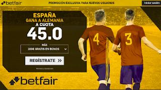 betfair supercuota España gana a Alemania 23 marzo