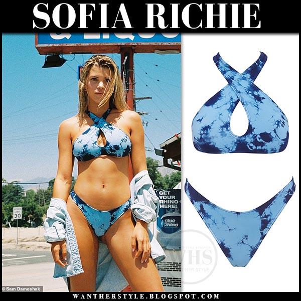 29ed672307 Sofia Richie in blue tie dye bikini from Frankies Bikinis. Celebrity beach  summer style 2019