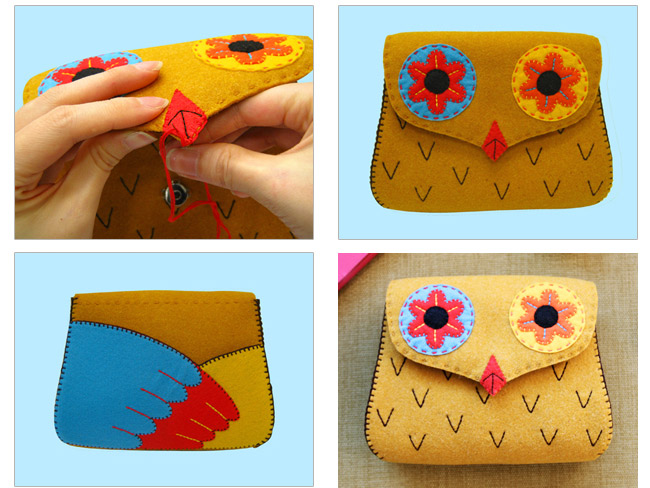 Felt Purse Tutorial. Owl Gift Bag. Sewing Tutorial in Pictures.