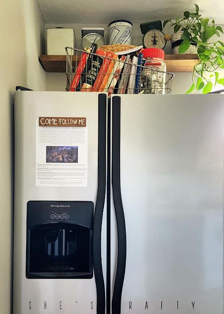 Come Follow Me printable hanging on fridge.