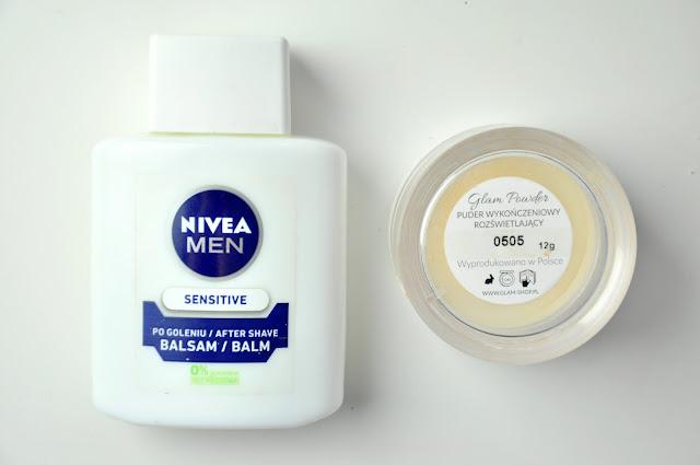nivea sensitive balsam po goleniu, glamshop glam powder puder do twarzy wykończeniowy rozświetlający