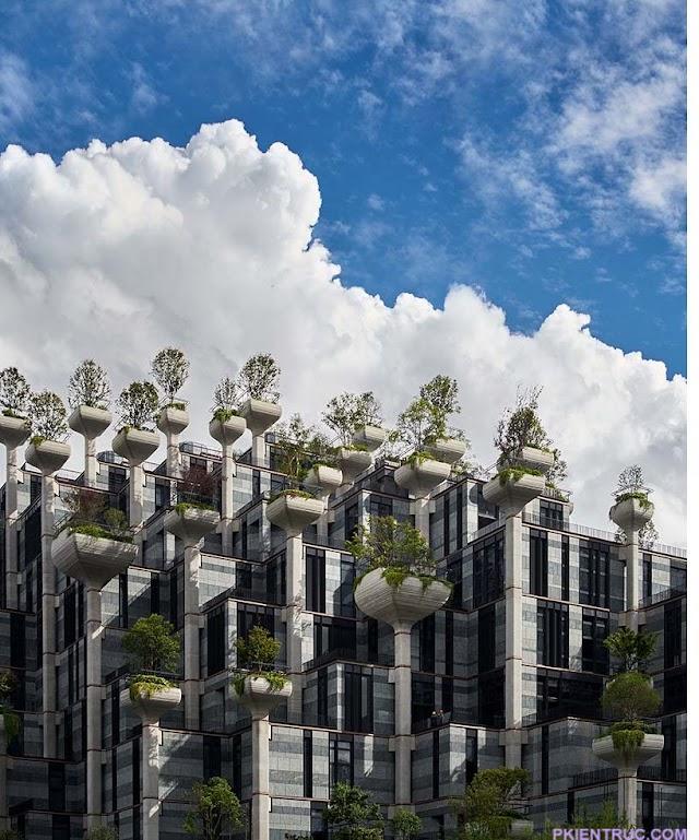 Công trình ấn tượng với hàng nghìn chậu cây trên mặt tiền