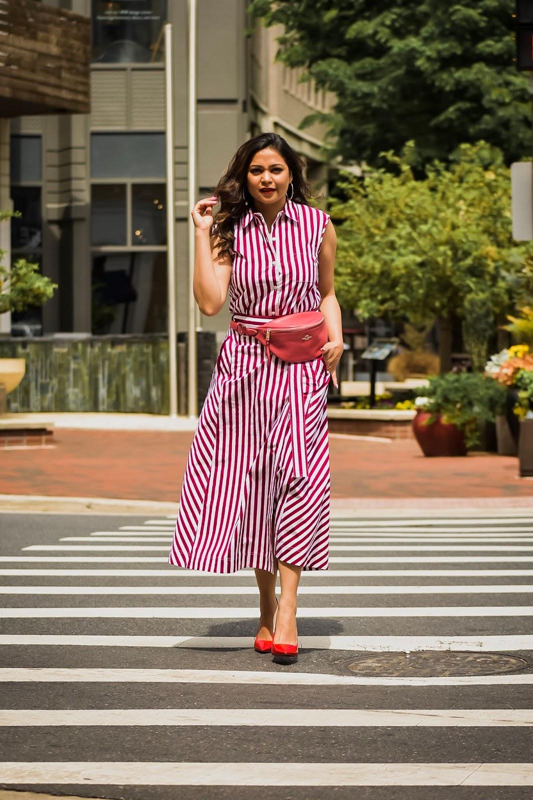 fanny pack, stripe skirt, stripe top, print on print, ootd, street style, fashion, how to wear a fanny pack, cross body belt bag, myriad musings