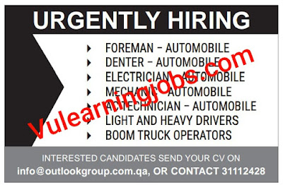 Urgently Hiring Jobs 2020 In Qatar For Foreman, Denter, Electrician, Mechanic & Other Latest