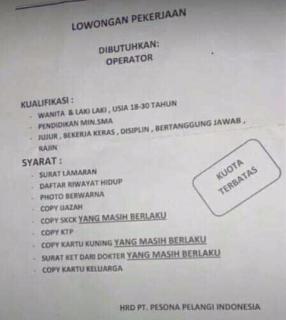 Lowongan Kerja PT. Pesona Pelangi Indonesia Tegal