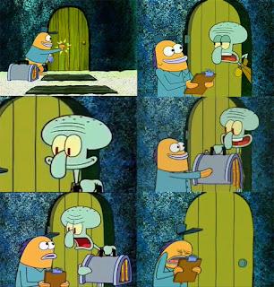 Polosan meme spongebob dan patrick 105 - squidward dan tukang pos