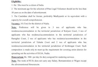 Para Legal Volunteer Recruitment in  Nadia District, Nadia District Recruitment