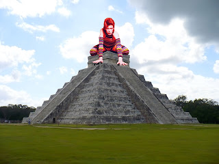 This is either a very large David Bowie or a very small Mayan pyramid