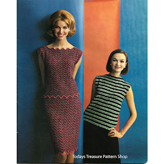 Knitted Chevron Striped Dress Pattern