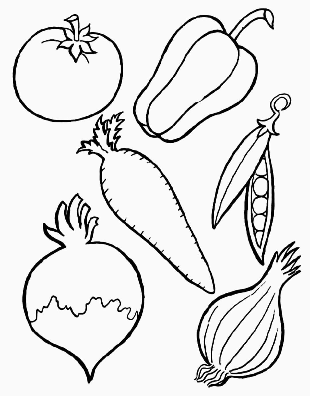 Раскраска Овощи Распечатать
