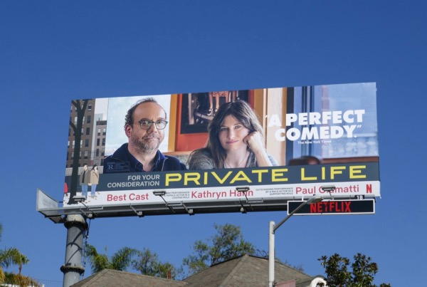 Private Life movie FYC billboard