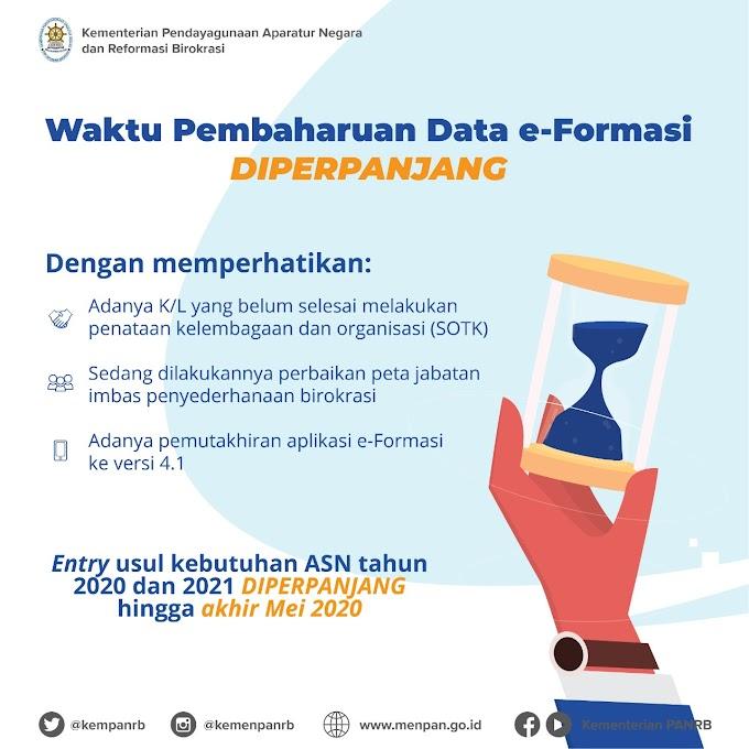 Pengisian Data e-Formasi Terkait Kebutuhan ASN 2020/2021, Diperpanjang Hingga Mei 2020
