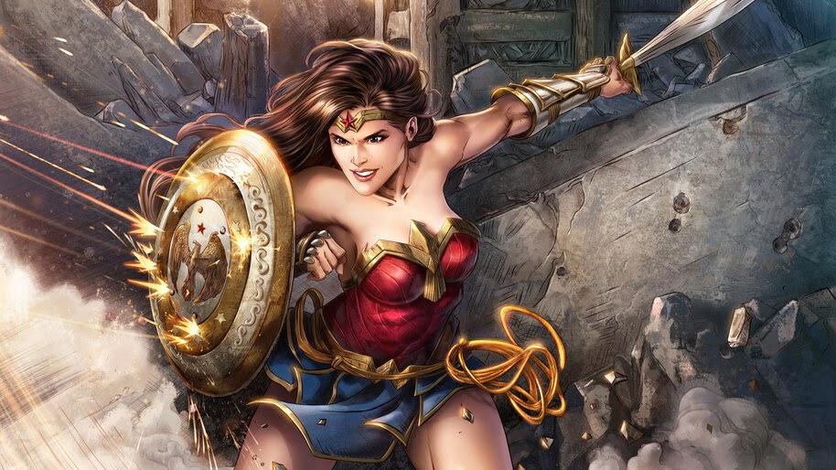 Wonder Woman, DC, Superhero, Sword, Shield, 8K, #6.1239