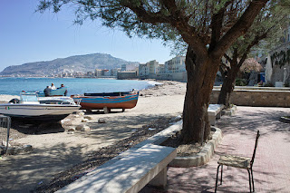 A waterfront view of the fishing port of Trapani on the west coast of Sicily