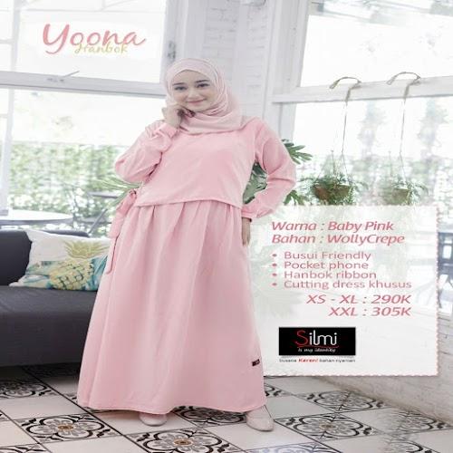 silmi fashion gamis yoona baby pink