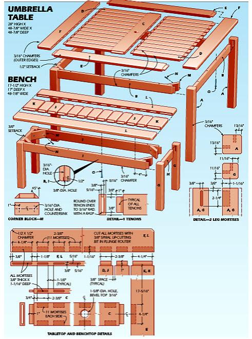 Diagram-plan-of-Outdoor-Umbrella-Table-in-Teds-Woodworking