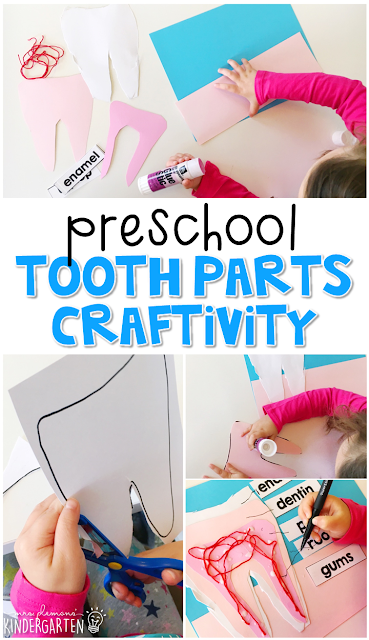 This tooth part labeling craft is an adorable way to incorporate lots of fine motor skills practice and science learning. Great for tot school, preschool, or even kindergarten!