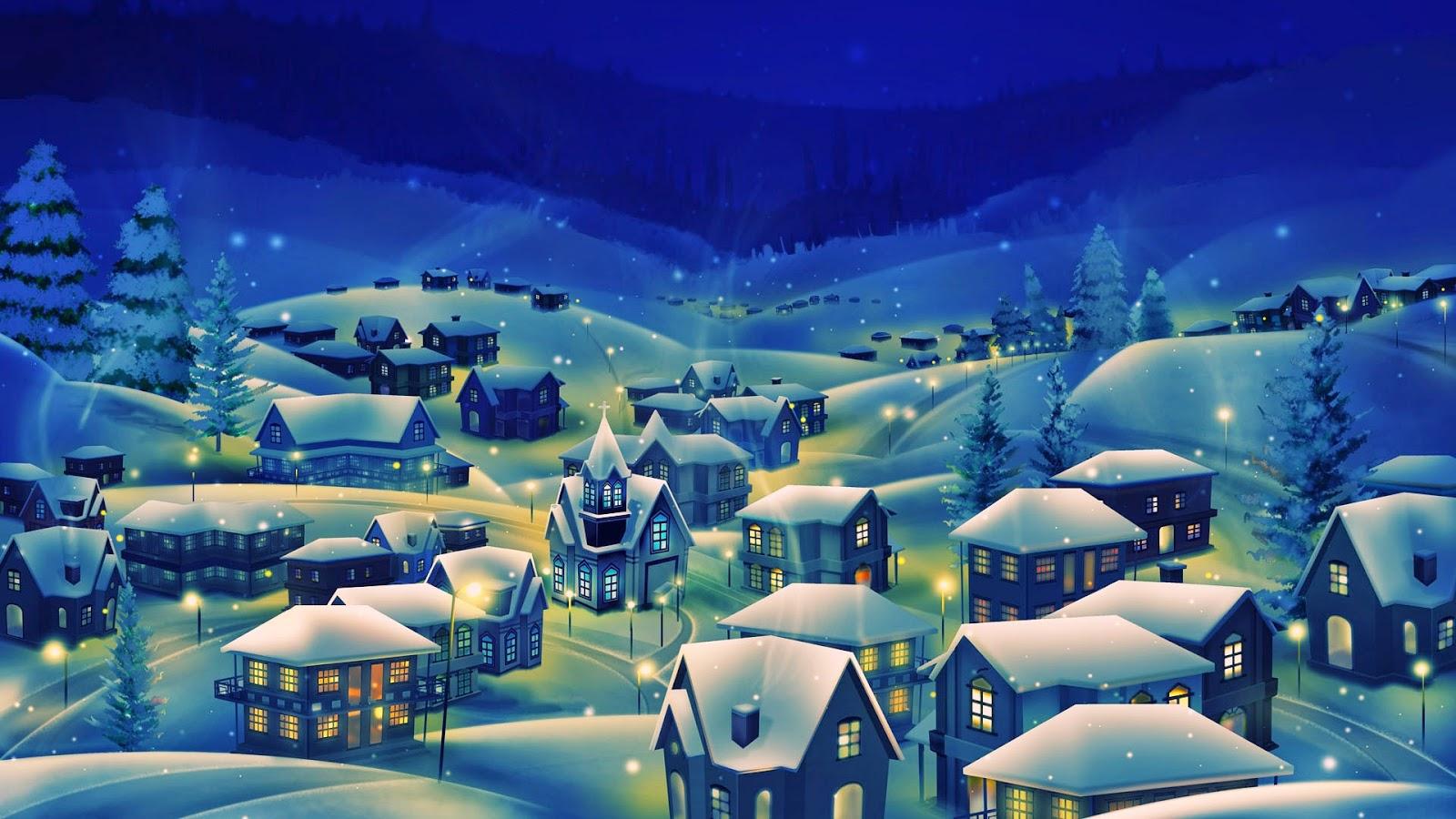 Winterdorp midden in de nacht met lichtjes en sneeuw