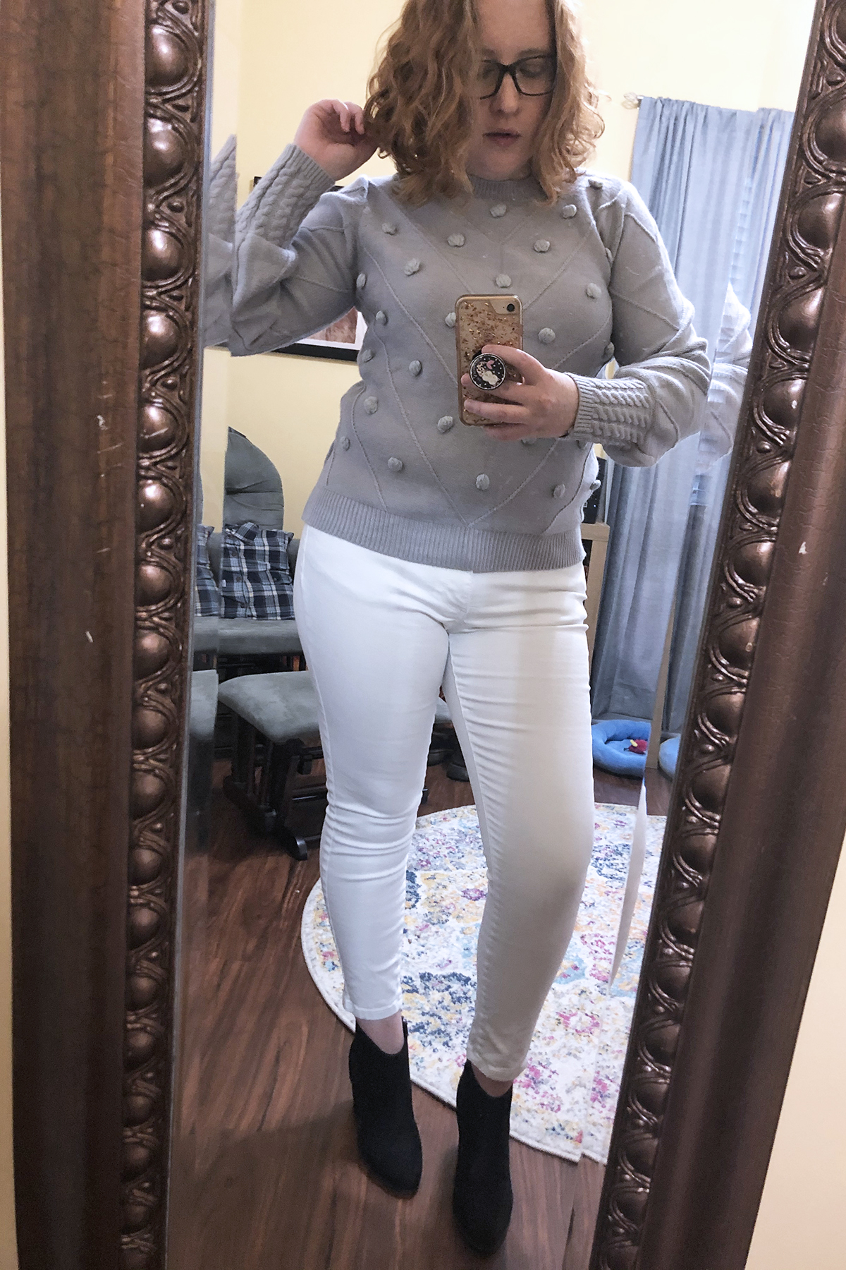 white jeans grey embellished sweater