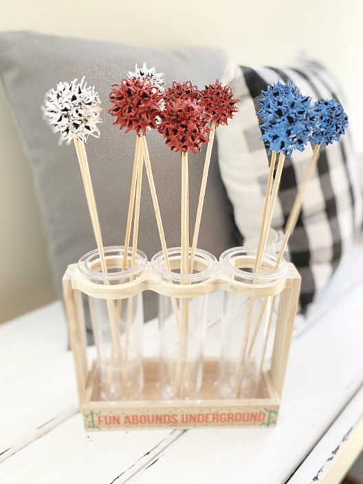 red white and blue sweet gum balls