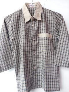 baju pakaian seragam batik identitas seragam lengan panjang baju batik pakaian batik identitas kotak kotak putih hitam dari rakhma konveksi