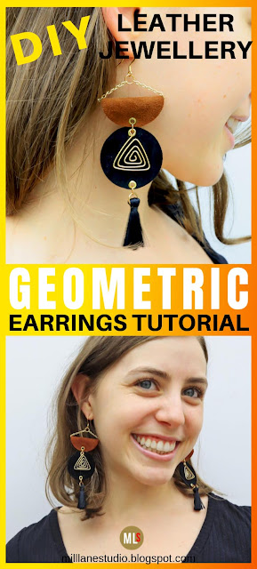 DIY Geometric Leather Earrings Inspiration Sheet