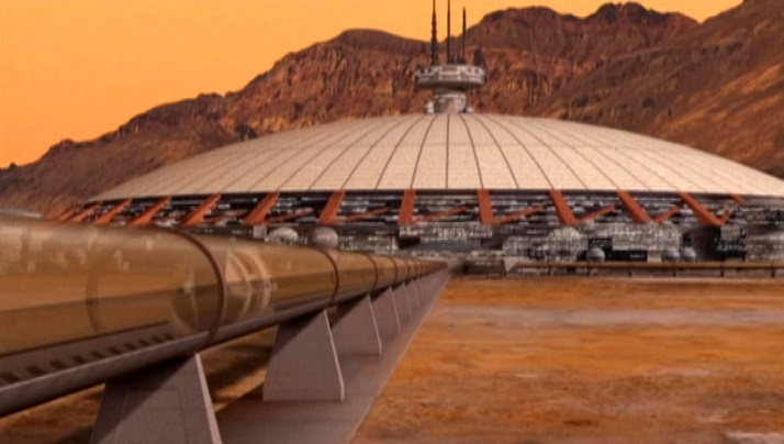 Mars in Babylon 5 - Hyperloop line to Mars Dome One