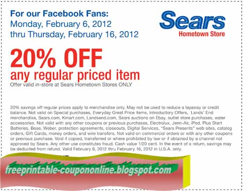Sears coupon code shoes 2018