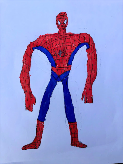 Marvel characters, drawn by kids