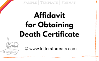 affidavit format to obtain death certificate
