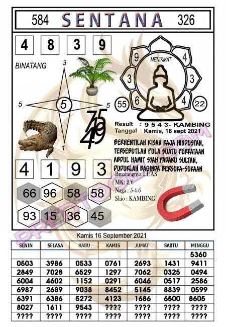 Syair Sentana Sdy Kamis 16-09-2021