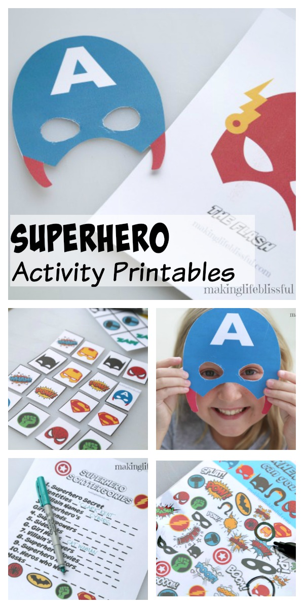 photo regarding Superhero Printable Mask called Totally free Superhero Bingo Printable and Superhero Printable Pack