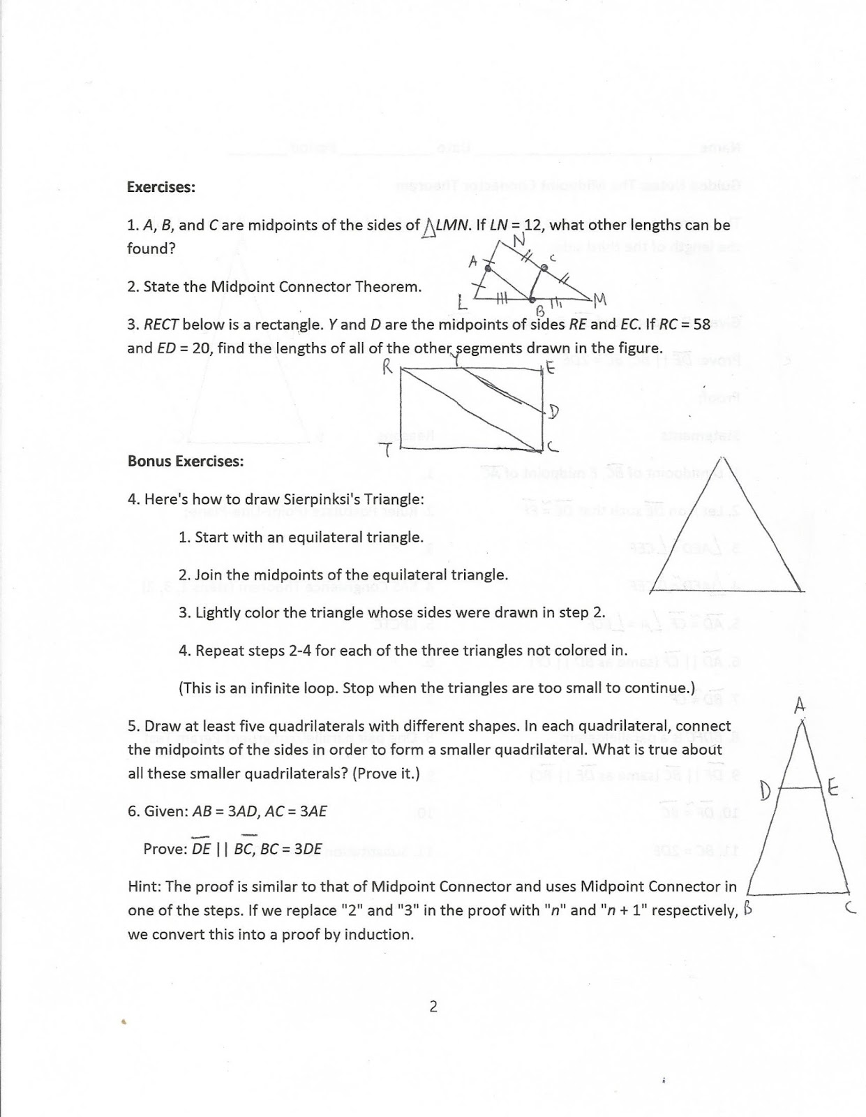 Geometry Common Core Style Lesson 11 5 The Midpoint