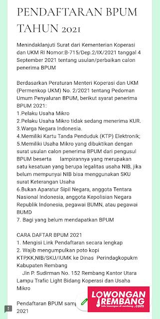 PENDAFTARAN BANTUAN UMKM BPUM SEPTEMBER 2021 KABUPATEN REMBANG