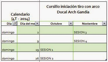 Calendario cursillo 4t-2014 Ducal Arch
